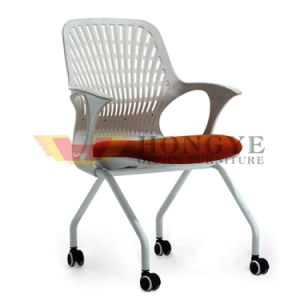 Factory Direct Unadjustable Plastic Back Mesh Four Leg Office Chairs with Wheels pictures & photos