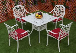 Elizabeth Cast Aluminum Powder Coated 5PCS Patio Garden Table and Chairs with IVY White Finish