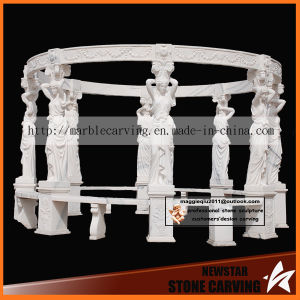 Eight Statues White Marble Carving Gazebo Ns026 pictures & photos