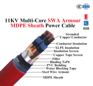 Medium Voltage 8.7/10kv PVC Sheathed Cable XLPE Insulated pictures & photos