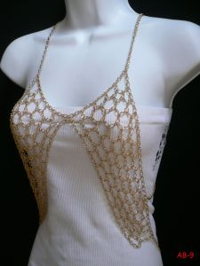 Ab-9 Trendy Gold Metal Sexy Bra Body Chain Tank Top Vest Style Jewelry Brand New African Metal Body Chain