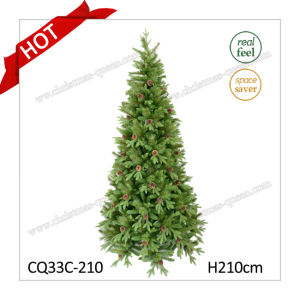 7FT Hot Sales Wholesale High Quality Artificial Plastic Christmas Trees with Pine Cone