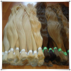 Raw Virgin European Human Hair, Unprocessed Bleached Hair Bulk in Stock
