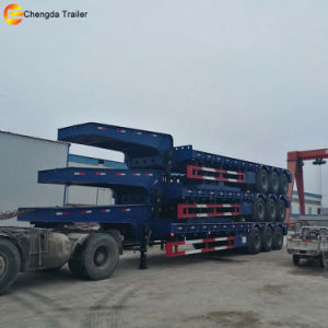 3 Axle 60ton Lowboy Low Bed Gooseneck Semi Truck Trailer pictures & photos