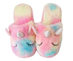 cd5a9ff6ec3f Soft Plush Material House Shoes Family Cute Unicorn Household Anti-Slip  Indoor Home Slippers