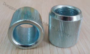 Steel CNC Machining Part with Straight Knurling and RoHS Bule Zinc for Shelf Pipe (HK231)