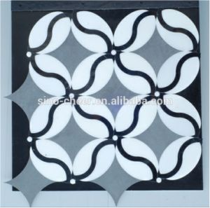 Moon Blue Mix Nero Marquina Flower Pattern Waterjet Marble Mosaic Tile