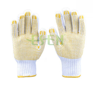 Factory Use Cotton Knitted Gloves Work Gloves PVC Dots pictures & photos