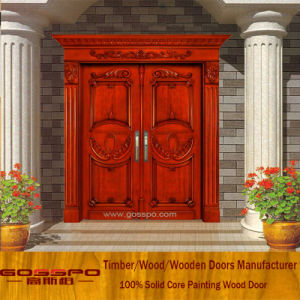 Solid Teak Wood Door Front Entry Double Door for Villa (XS1-026) pictures & photos