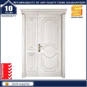 Entrance Solid Wooden Double Panel Main Door Design