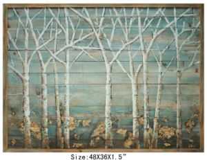100% Handmade Silver Metallic Birch Tree Wood Art (Item#705669)