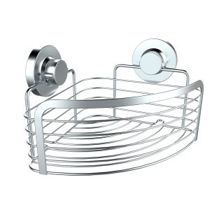 Chrome Stainless Steel Corner Basket with Suction Cups Mounted