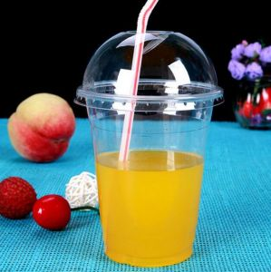 Colorful Cup Manufacturer 7oz/10oz/12oz/16oz/20oz/24oz Plastic Juice Cup with Dome&Flat Lid pictures & photos