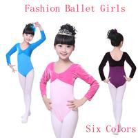 04951a878d6a4 Velvet Cotton Girls Children Long Sleeve Gymnastic Ballet Dance Leotard