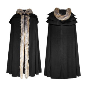 Y-673 Punk Rave New Design Deep Winter Gothic Excellent Wool Collar Overbearing Long Cloak