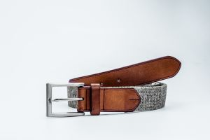 New Designed Fashion Leather-Canvas Woven Belt with Leather