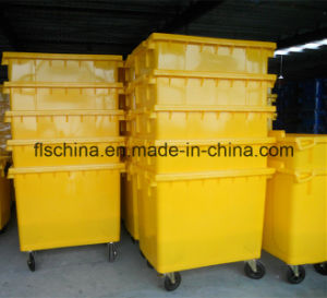 660L Plastic Dustbin with Four Wheels and Open Top Structure pictures & photos