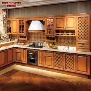 Holistic Kitchen Furniture Design Solid Teak Wood Kitchen Cabinet (GSP5 048)