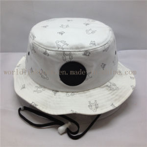 China 100% Cotton Fisherman Bucket Hat with Strings and Leather ... 82dd81d96aa1