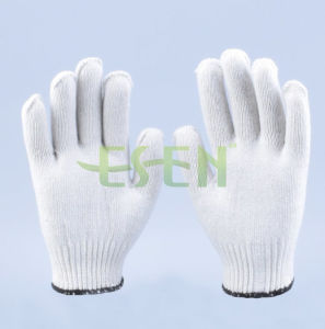 2017 Fashion Knitted Cotton Gloves with Wholesale Price, White Knitted Cotton Gloves for Gardener