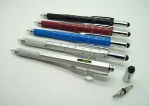 Multi Function 5 in 1 Gradienter Touch Stylus Screwdriver Ruler Ballpoint Multi Tool Pen pictures & photos