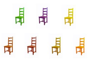 Fashion Colorful Natural Wood Dining Chair Backrest Stool