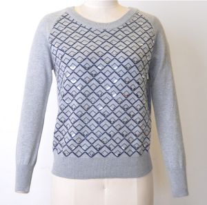 100%Cotton Women Patterned Jumper Sequins Knit Sweater pictures & photos