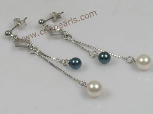 Pearl Earring Made Of Sterling White Black Cultured R Pearls