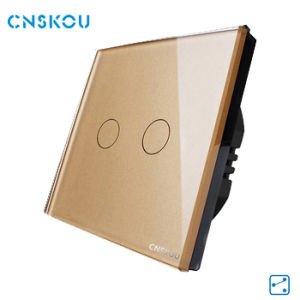 Cnskou Mannufacturer EU 2gang 2 Way Touch Switch 220V-250V Gold Crystal Glass Panel Touch Wall Light Switch Smart Home