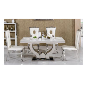 Modern White Solid Marble Top Dining Table Designs
