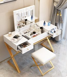 China Nordic Dresser Luxury Multifunction Bedroom Flip Painted Mirror Makeup Table And Chair Set Hotel Furniture Home
