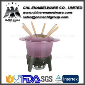Customized Healthy Enameled Cast Iron Ice Cream Fondue Set pictures & photos