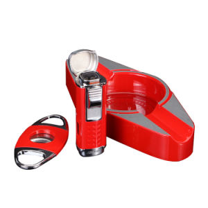 Lubinski High-Quality Red Ashtray Cutter Lighter Set Cigar Suit (ES-LI-008) pictures & photos