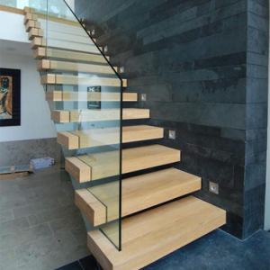 China Diy Install Wooden Floating Stair Case Indoor