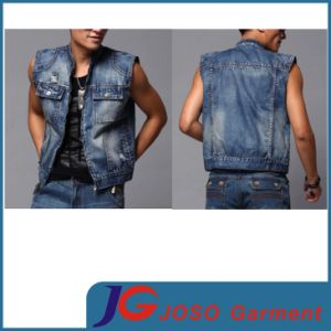 2015 Summer Sleeveless Fashion Body Shape Boys Jeans Vest (JC7039) pictures & photos