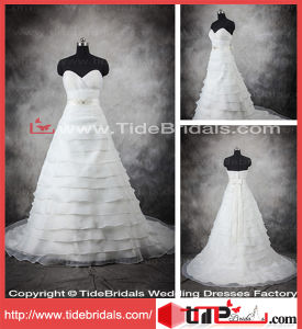 Luxury Custom Designer Tiered Organza Beaded Belt Bridal Gown Wedding Dress (11418)