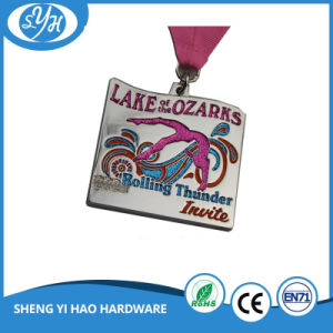 Custom Shiny Silver Finish Soft Enamel Medal