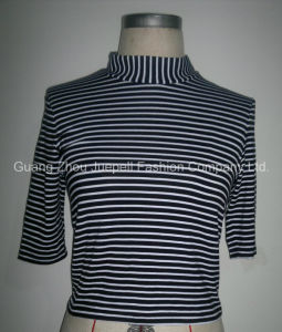 Ladies Knit Rayon Striped Mock Nect Tops pictures & photos