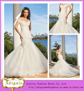 2014 New Style Mermaid White Elegant off The Shoulder Lace Back Appliqued Organza Chapel Train Designer Wedding Dresses
