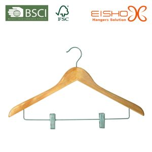 Light Notched Suit Hanger with Metal Clips (MP633) pictures & photos
