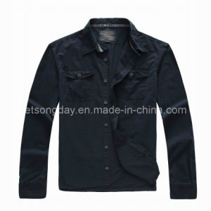 Black 100% Cotton Leisure Apparel Men′s Casual Shirt (BT157000) pictures & photos