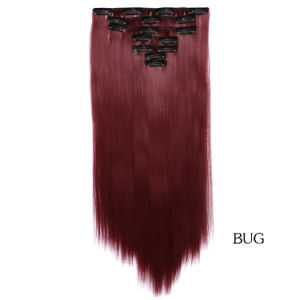 Selling Spot Wholesale 7 Piece Set Synthetic Straight Hair Extensions Clip  in Hair Wig Hairpiece 40b0a795c796