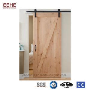 Latest Design America Style Solid Wood Barn Door Space Saving