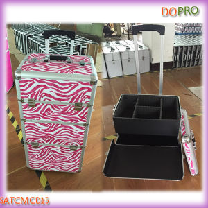 Zebra Printing 2 in 1 Trolley Hair Stylist Beauty Tool Case (SATCMC015)