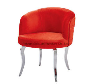 Modern Crystal Buttons Back Red Fabric Steel Legs Dining Arm Chairs pictures & photos