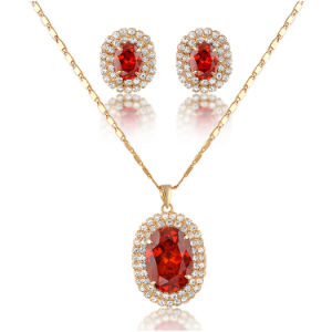 Whole Luxury Red Stone 18k Gold Fashion Jewelry Sets