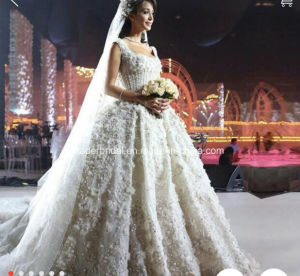 Arabic Bridal Ball Gown Luxury Crystal Crystal Lace Wedding Dress H201652 pictures & photos
