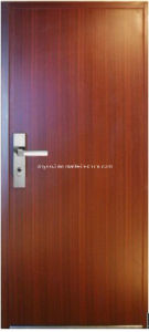 Grained Steel Door with Wooden Veneer