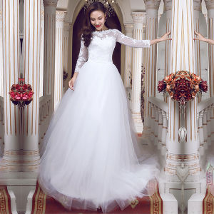 b24adcdaf863 China Simple Lace Tulle Real Photos Long Sleeve Wedding Dresses (TM-MS021)  - China Wedding Dresses, Wedding Gown