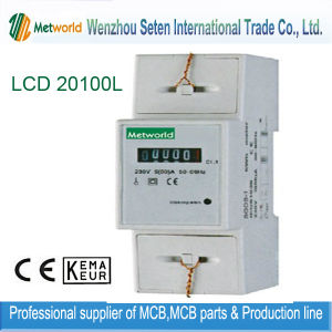 Single-Phase DIN-Rail Electronic Two Module Energy Meter (LCD 20100L) pictures & photos